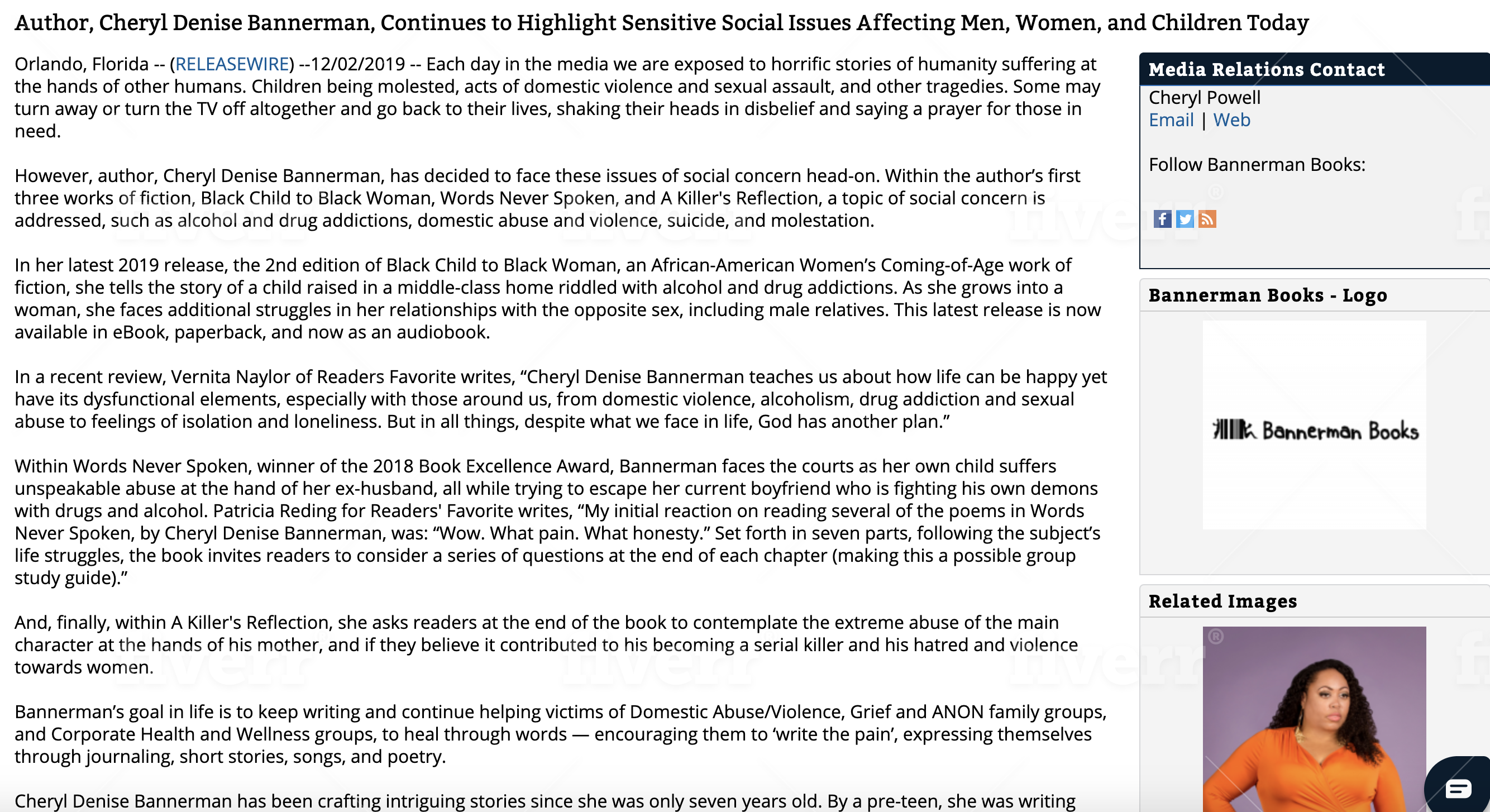 Open for Press Release: Author, Cheryl Denise Bannerman, Continues to Highlight Sensitive Social Issues Affecting Men, Women, and Children Today