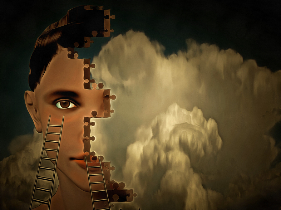 Woman's face, puzzle cloud. 3D rendering
